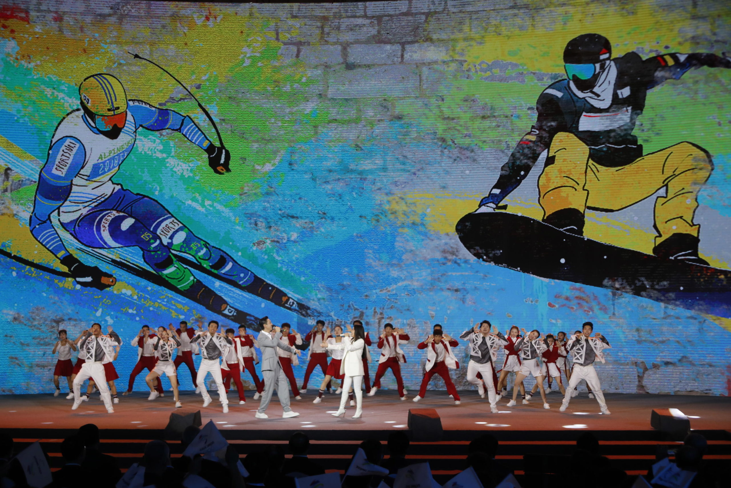 Coreografie colorate per la celebrazione delle Olimpiadi